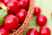 Organic Cherries In A Basket