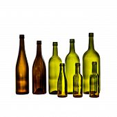 Empty Glass Wine Bottles On White Background