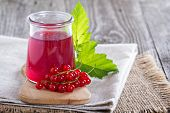 image of jar jelly  - Red currant jelly in a jar with fresh berries