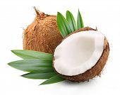 stock photo of eatables  - Coconut with palm leaves isolated on white - JPG