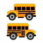 School Bus Icons in Flat Vector Style