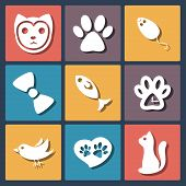 Flat pet cat icons set