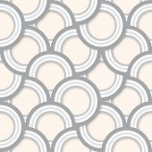 Seamless pattern of layered grey concentric circles with drop shadows