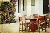 Vintage photo of rustic terrace on a mediterranean island