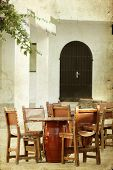 Vintage photo of rustic terrace on a mediterranean island