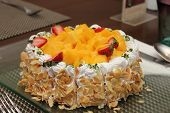 Cheese Cake With Mango In Close Up