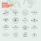 Set of badges and labels elements for seafood