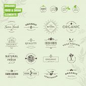 image of food label  - Set of vintage style elements for labels and badges for organic food and drink - JPG