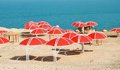 Dead Sea. Beach Umbrellas