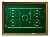 Ice Hockey Field Drawn On Chalkboard