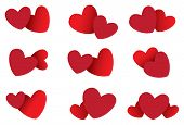 Two Hearts Vector Icon Set