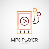 mp3 player company logo design, business symbol concept, minimal line style