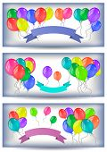 Banners With Colorful Balloons And Ribbons