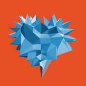 Heart with thorns. 3d vector illustration.