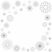 Decorative frame of round ornament, spirograph background