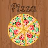 Retro Poster With Pizza Over Wood