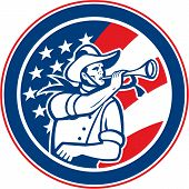 American Cavalry Soldier Blowing Bugle Circle