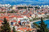 Panoramic View From High On Croatian City Of Split On The Adriatic Coast