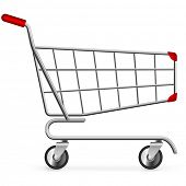 Side view of empty shopping cart isolated on white background.