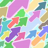 Abstract seamless multicolor diagonal arrow pattern.
