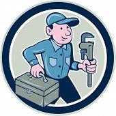 Plumber Toolbox Monkey Wrench Circle Cartoon