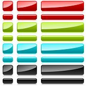 Color plastic rectangular buttons for web design.