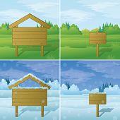 Wood sign on landscape, set