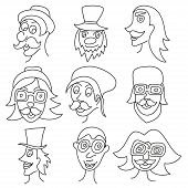 Different comic faces, hipster faces with mustaches and sunglasses