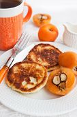 image of loquat  - Cottage cheese pancakes and fresh loquat for breakfast - JPG