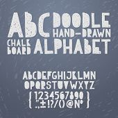Chalk hand draw doodle abc, alphabet grunge scratch type font vector illustration