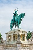 Statue Of St Stephen At The Fisherman's Bastion Budapest Hungary
