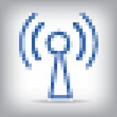 Blue vector wireless and wifi icon.