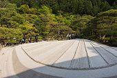 KYOTO, JAPAN - APRIL 26th : With white sand landscape in Karesansui of Japanese garden in Ginkakuji