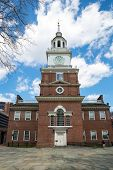 Independence Hall in Philadelphia Pennsylvania from the south side, site of the signing of the Declaration of Independence in 1776