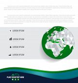 Infographics design template with modern globe. Vector illustration.