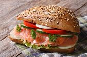 Delicious Sandwich With Salmon And Vegetables Close Up