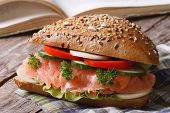 School Lunch: Sandwich With Salmon And Vegetables