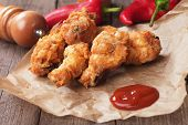 Southern fried chicken wings with barbecue sauce