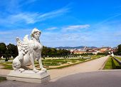 Ancient sphinx statue and Belvedere garden, Vienna, Austria