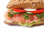 Sandwich With Salmon And Vegetables Macro Isolated