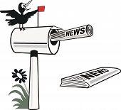 Mailbox and newspaper cartoon