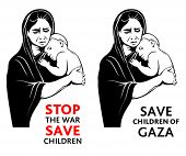 War refugees mother with a little baby asking for peace