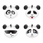 Panda bear emotion icons set, vector design