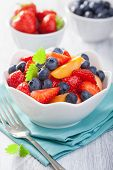 fruit salad with strawberry blueberry apricot