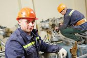 pic of lineman  - Industrial electrician lineman repairman workers team - JPG