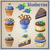 Set of sweets with blueberries. vector illustration