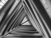 Zoom Effect Looking Up Through Triangle Structure