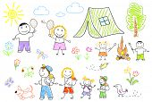 Sketch - happy family in camping