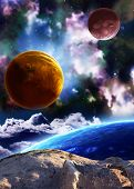 A beautiful space scene with planets and nebula. Elements of this image furnished by NASA