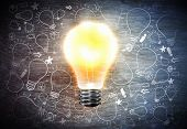 Conceptual image with light bulb and business sketches